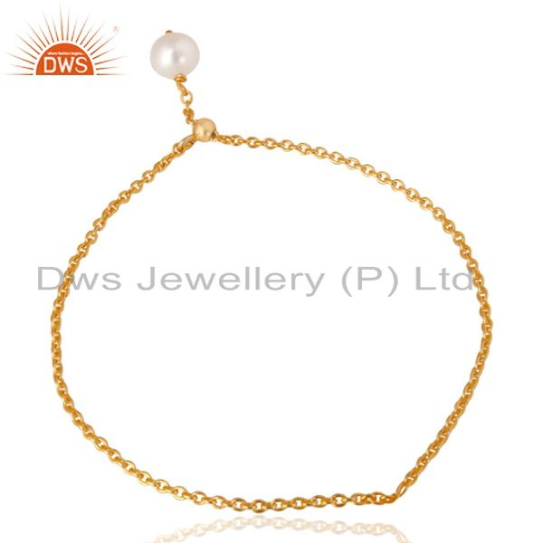 18k yellow gold plated 925 sterling silver pearl beads chain drops bracelet