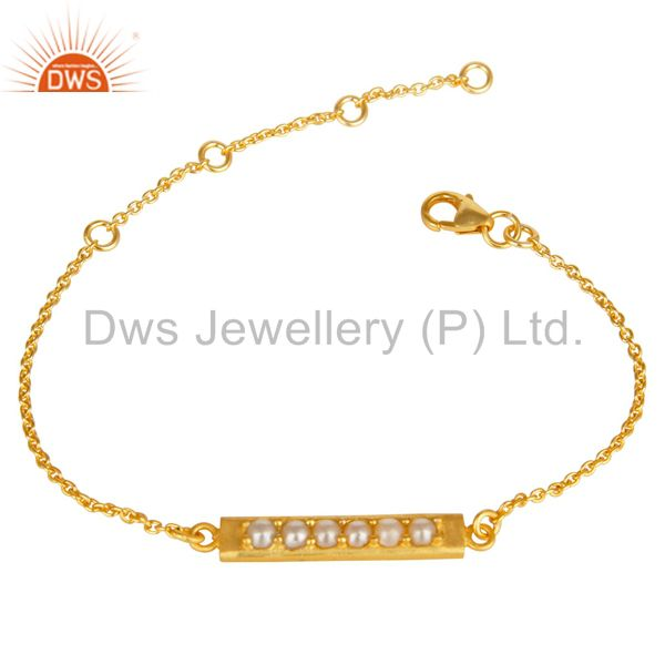 14k yellow gold plated 925 sterling silver handmade natural pearl bracelet