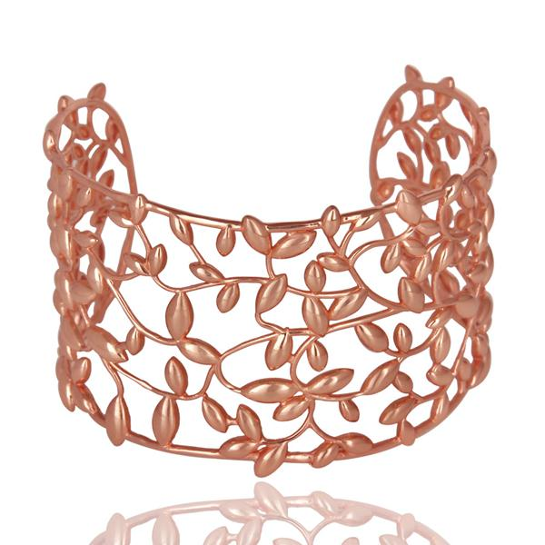 Olive leaf 925 sterling silver rose gold plated cuffs jewelry