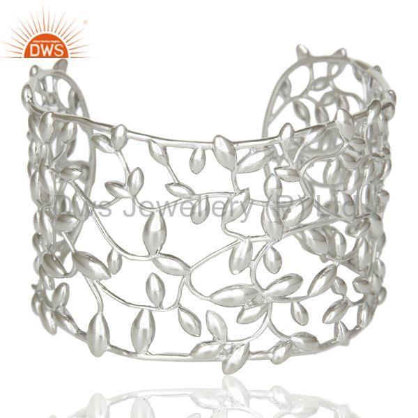 Olive Leaf 925 Sterling Silver White Rhodium Cuffs Jewelry