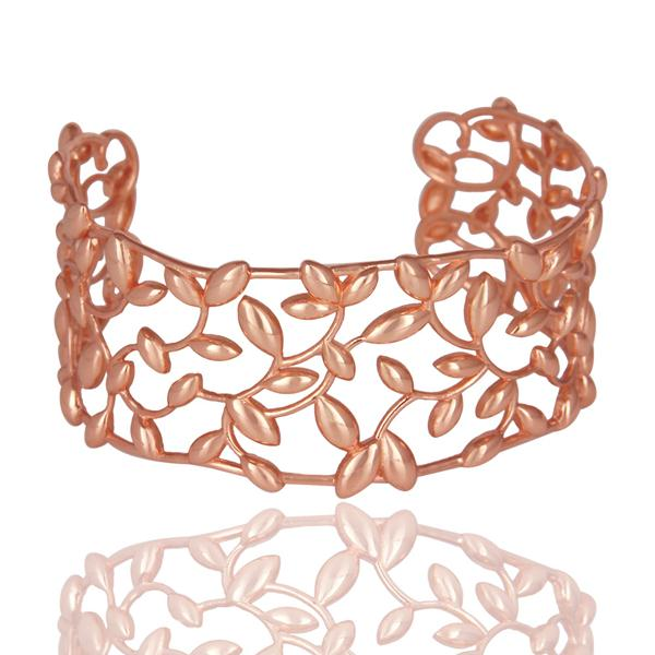 Olive leaf cuff 925 sterling silver rose gold plated jewelry