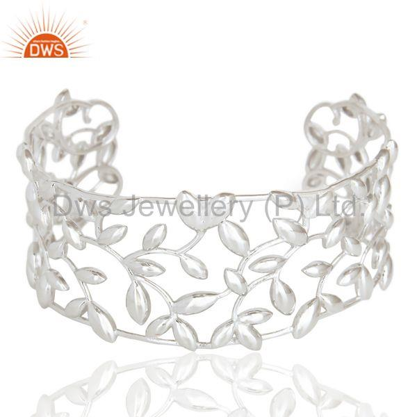 Olive leaf cuff 925 sterling silver white rhodium plated jewelry