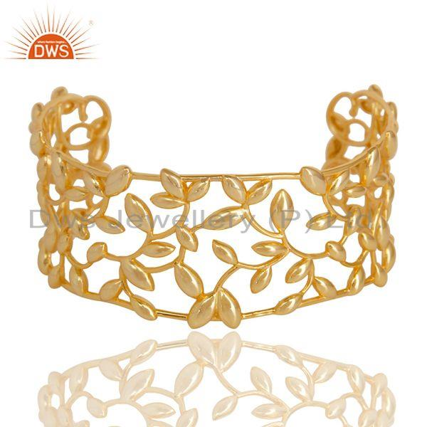 Olive Leaf Cuff 925 Sterling Silver 18k Gold Plated Jewelry