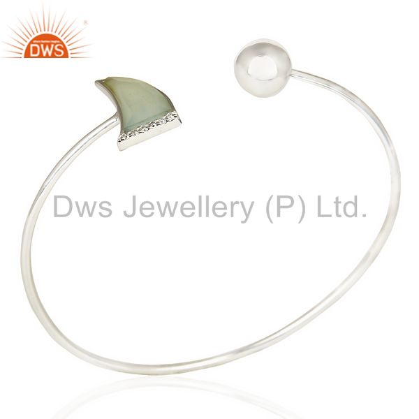 Aqua Chalcedony Openable Bangle Horn Stone Bangle In 92.5 Stelring Silver