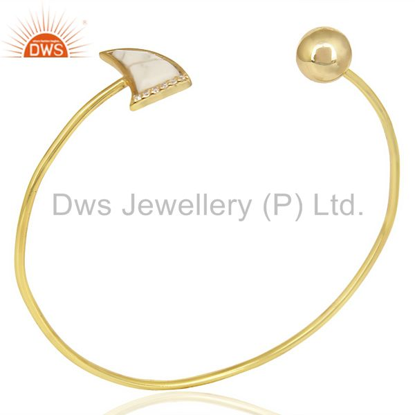 Howlite Horn Openable Gold Plated Bangle Studded With White Cz  In Solid Silver
