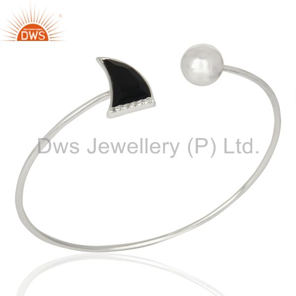 Black Onyx CZ Sleek 925 Sterling Silver Cuff Bangle Gemstone Jewelry