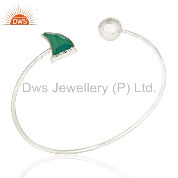 Green Onyx Openable Horn Bangle In Solid 92.5 Sterling Silver FashionJewelry