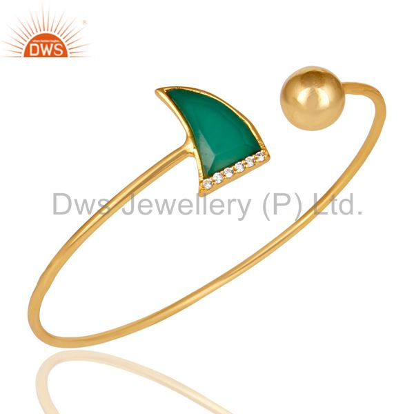 Green Onyx CZ Sleek 14K Gold Plated 925 Sterling Silver Cuff Bangle Jewelry