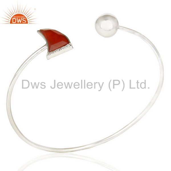 Red Onyx Openable Horn Bangle 92.5 Sterling Silver Fashion Bangle