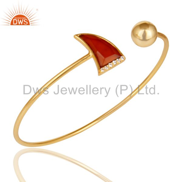 Red Onyx CZ Sleek 14K Yellow Gold Plated 925 Sterling Silver Cuff Bangle Jewelry