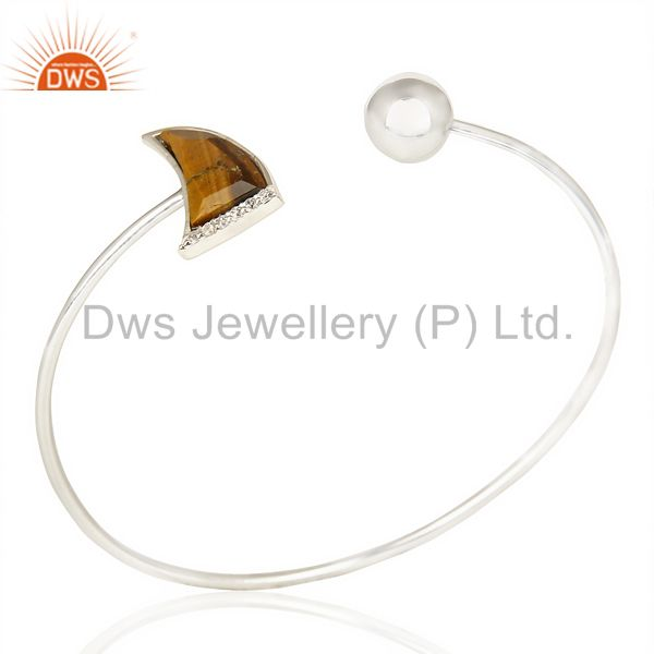 Tigereye Studded Horn Bangle In Solid 92.5 Silver Daisy Jewelry