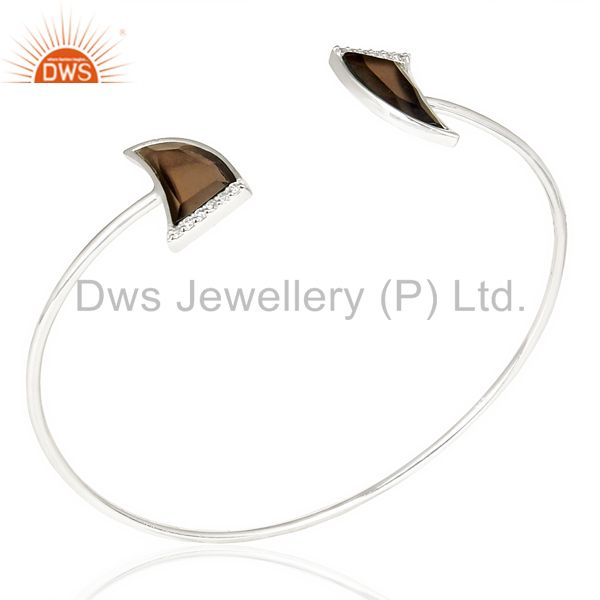 Smoky topaz two horn studded bangle in solid 92.5 sterling silver
