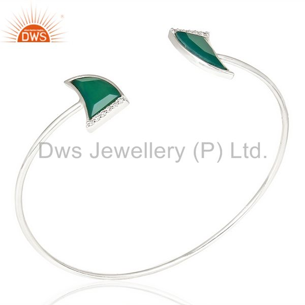 Green Onyx Two Horn Studded Bangle In Solid 92.5 Sterling Silver