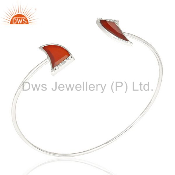 Red onyx two horn studded bangle in solid 92.5 sterling silver