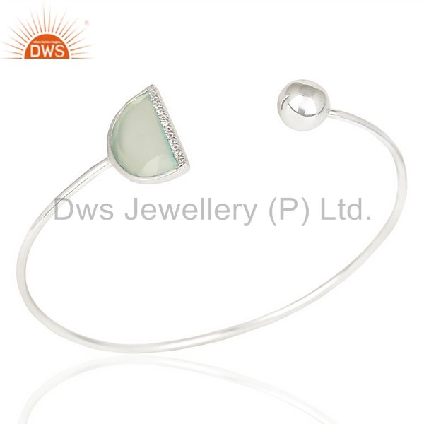 Aqua Chalcedony Half Moon Bangle In Solid 92.5 Sterling Silver Adjustable Bangle