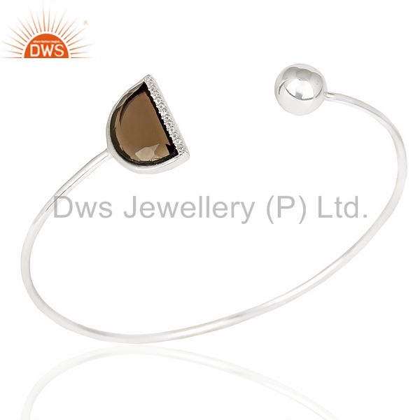 Smoky Topaz Half Moon Bangle Studded With Cz In Solid 92.5 Sterling Silver