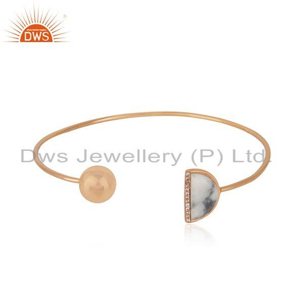CZ Howlite Gemstone Rose Gold Plated Silver Cuff Bangle Jewelry