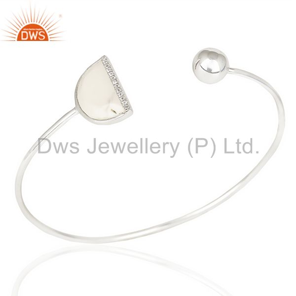 Howlite Half Moon bangle Cz  Studded Openable Adjustable Bangle In 92.5 Silver