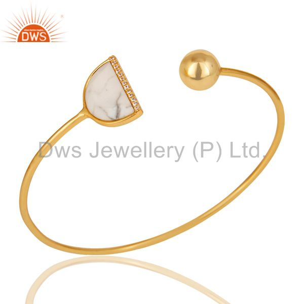 White Howlite CZ Sleek 14K Gold Plated Sterling Silver Cuff Bangle Jewelry