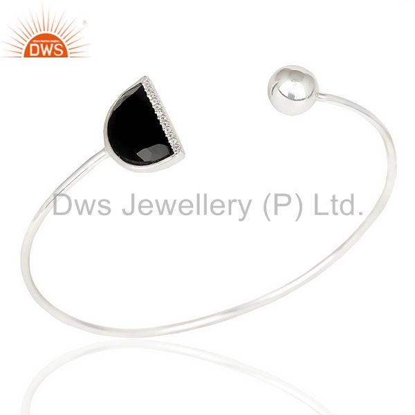 Black Onyx Half Moon Openable Bangle Fashionable Bangle In 92.5 Sterling Silver