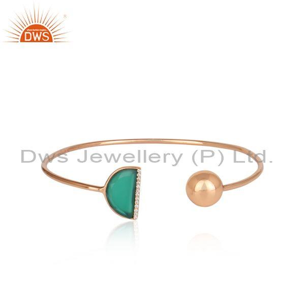 Green Onyx Moon And Cubic Zirconia Set Silver Rose Cuff