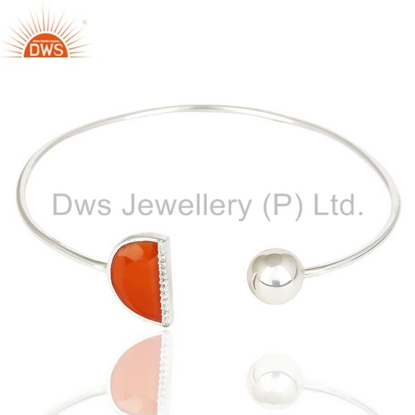 Red onyx half moon bangle studded in 92.5 sterling silver