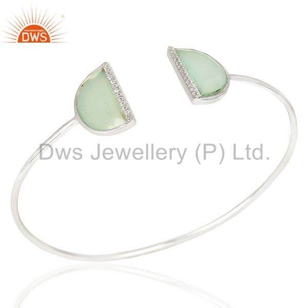 Aqua Chalcedony Two Half Moon Bangle Openable Adjustable Bangle In Silver