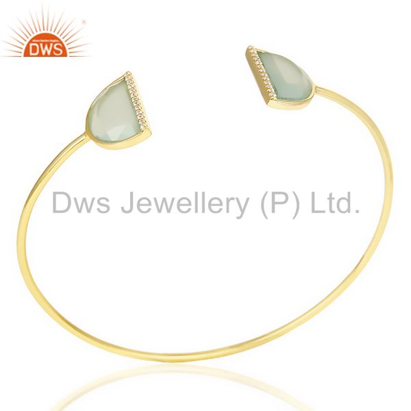 Aqua chalcedony two half moon gold plated bangle studded with cz in solid silver