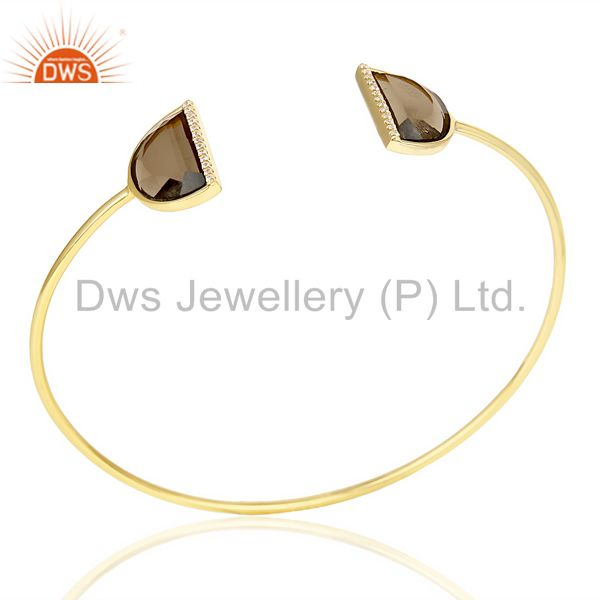 Smoky topaz two half moon 14 kgold plated bangle studded with cz in solid silver