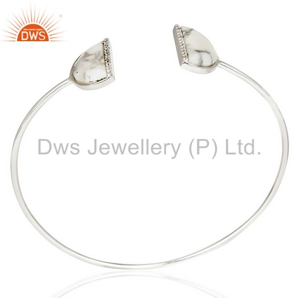 Howlite Two Half Moon Bangle Studded With Cz In 92.5 Sterling Silver