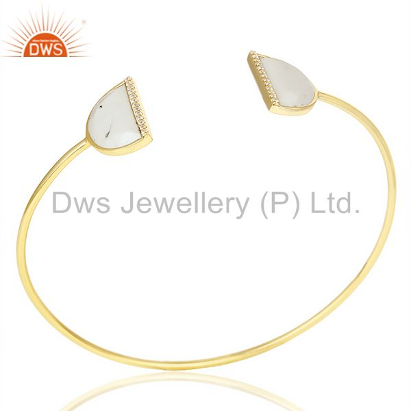 Howlite Two Half Moon 14 K Gold Plated Bangle Studded With Cz In Solid Silver