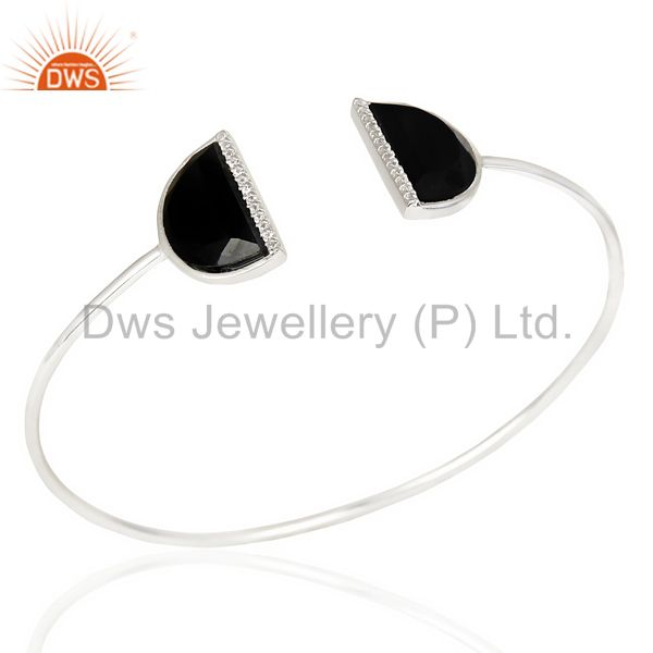 Black Onyx Two Half Moon Studded Bangle In Solid 92.5 Sterling Silver