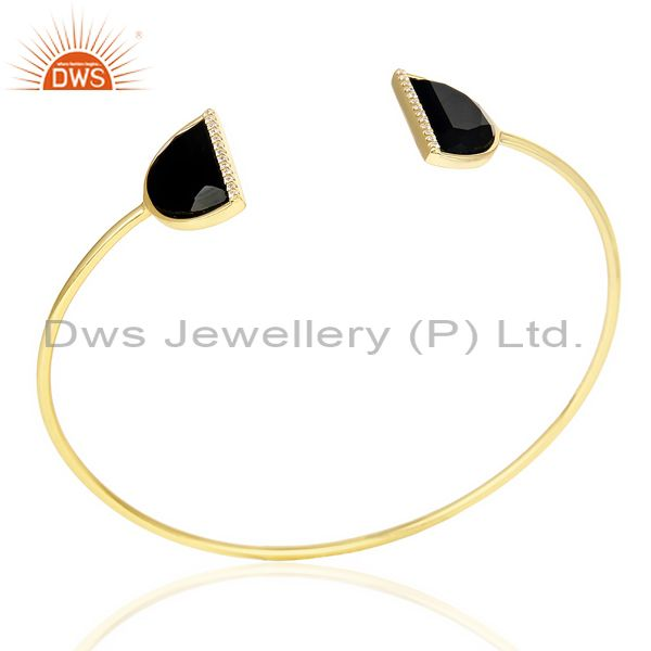 Black Onyx Two Half Moon Studded Gold Plate Bangle In Sterling Silver