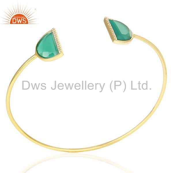 Green Onyx Two Half Moon Studded Gold Plate Bangle In Sterling Silver