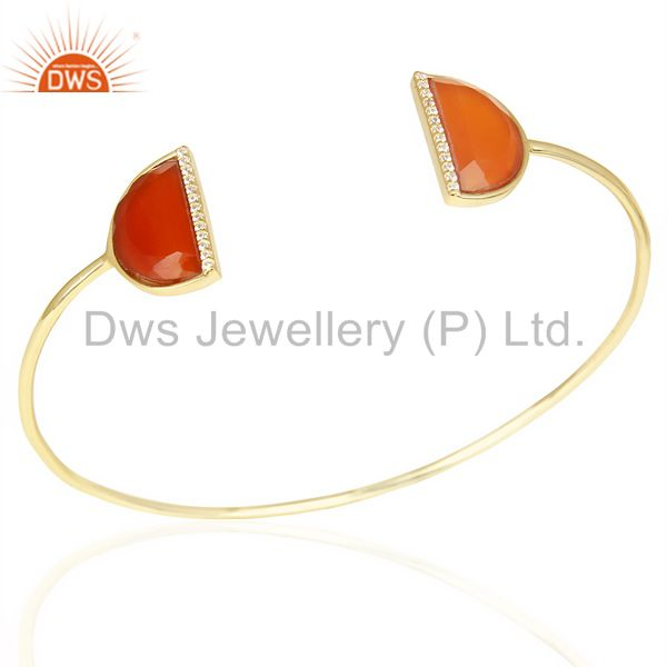Red onyx two half moon studded gold plate bangle in sterling silver