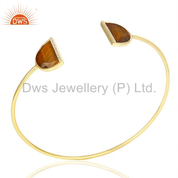 Tigereye two half moon studded gold plate bangle in sterling silver