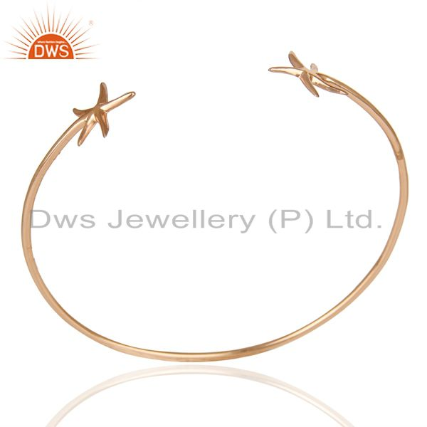 14K Rose Gold Plated Sterling Silver Handmade Star Design Cuff Bangle Jewelry