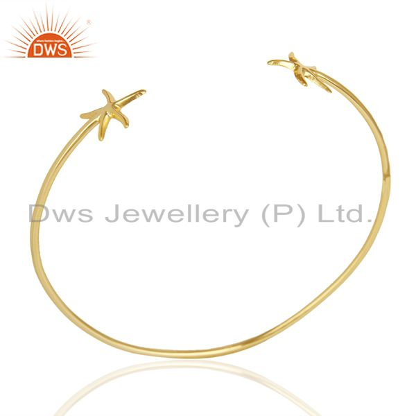 14K Yellow Gold Plated Sterling Silver Handmade Star Design Cuff Bangle Jewelry