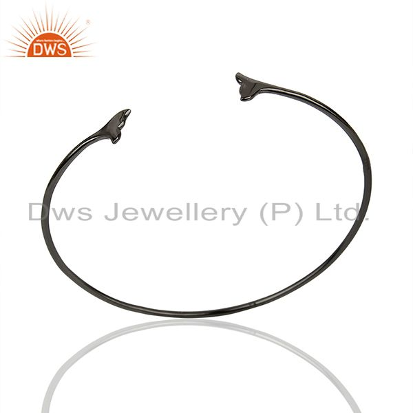 Dolphin Tail Adjustable Openable Black Rhodium 92.5 Sterling Silver Bangle