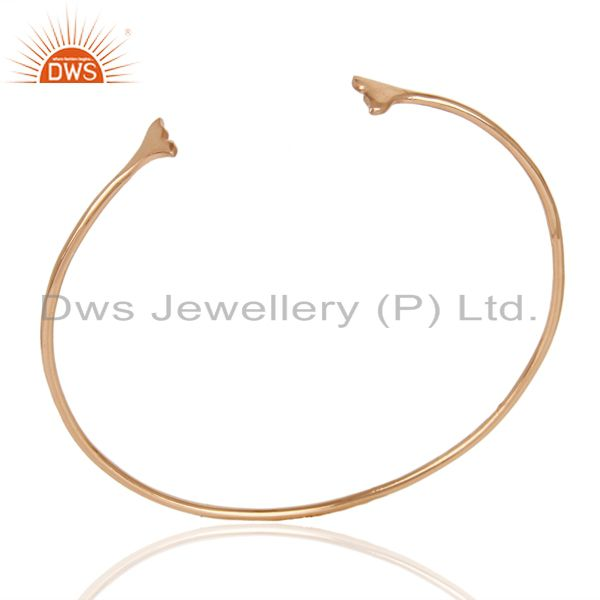 Dolphin Tail Adjustable Openable Rose Gold Plated  92.5 Sterling Silver Bangle