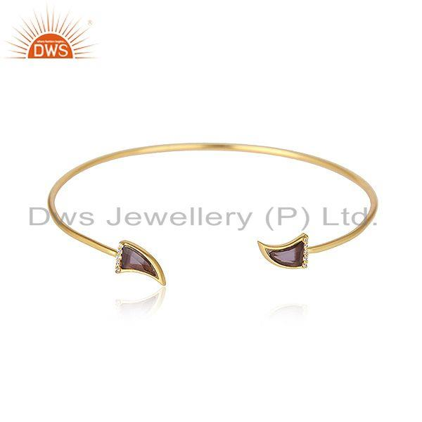 Horn Design Gold Plated Silver CZ Blue Corundum Gemstone Bangles