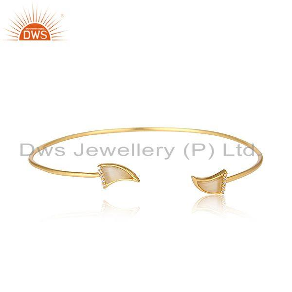 White moonstone cz gemstone horn silver gold plated cuff bangle