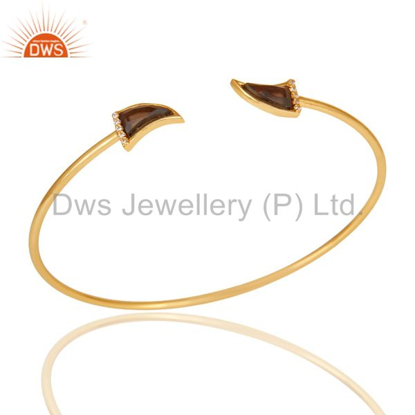 Smoky Topaz Tooth Unisex Gold Plated Sterling Silver Openable Bangle