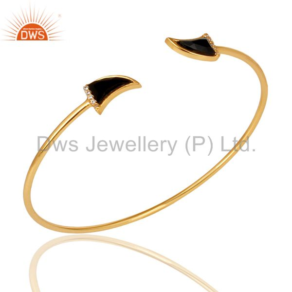 Black Onyx Tooth Unisex Gold Plated Sterling Silver Openable Bangle