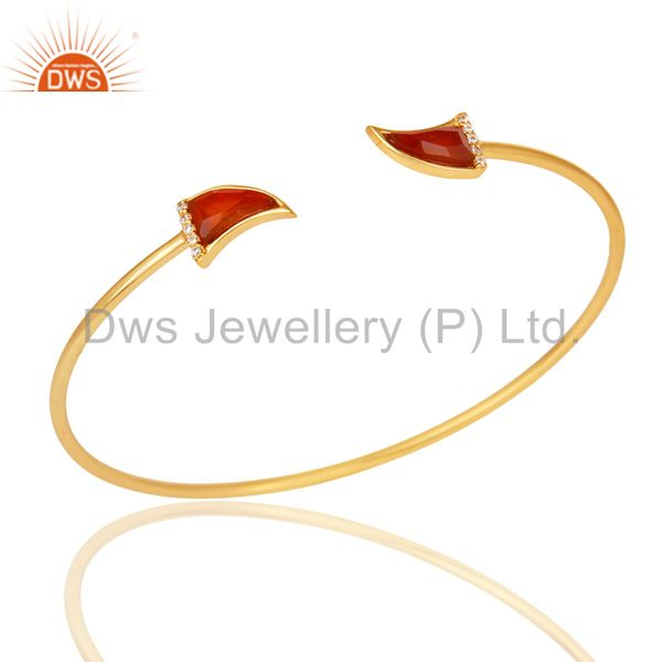 Red Onyx Tooth Unisex Gold Plated Sterling Silver Openable Bangle