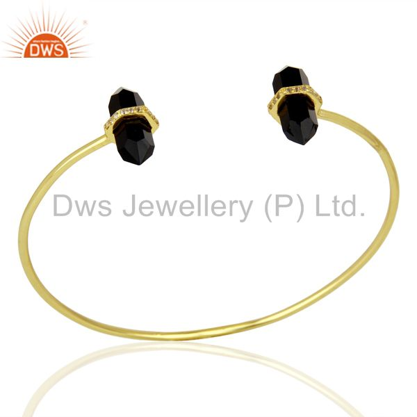 Black Onyx Pencil Point Healing Openable Adjustable Gold Plated Bangle