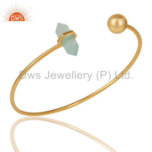 Aqua Chalcedony Double Terminated Pencil Point Gold Plated  Silver Bangle