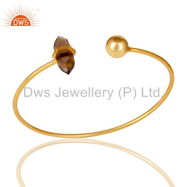 Smoky Double Terminated Pencil Point Openable Gold Plated Silver Bangle