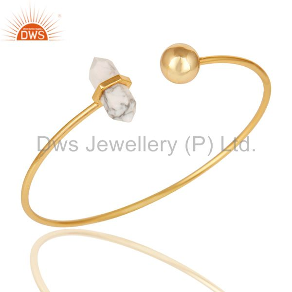 Howlite Double Terminated Pencil Point Openable Gold Plated Silver Bangle