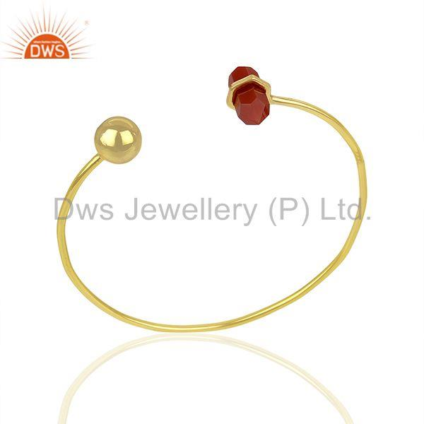 Red Onyx Double Terminated Pencil Point Openable Gold Plated Silver Bangle